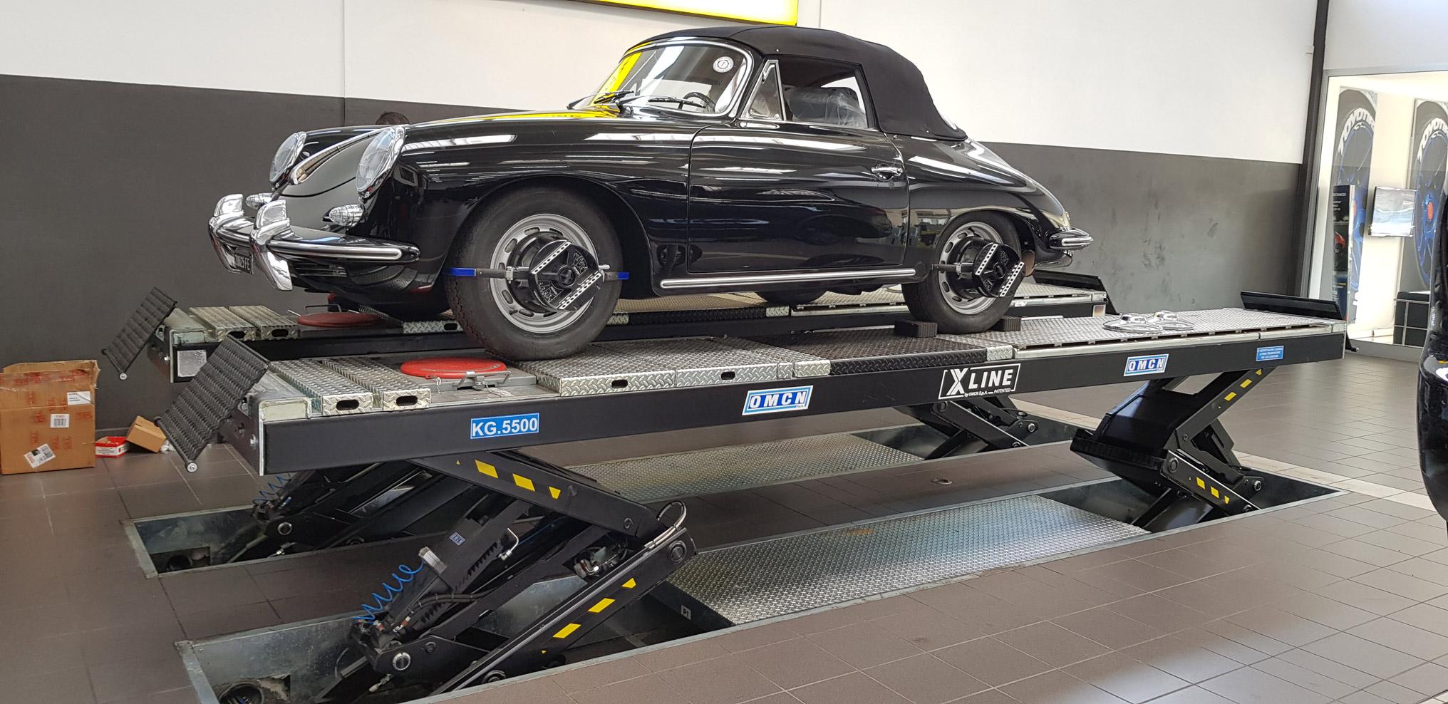 Classic Porsche on an X line lift